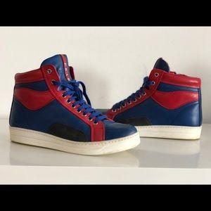 b7e4d19e61dc ... promo code prada shoes prada mens blue red leather high top sneakers  8061f e8a68